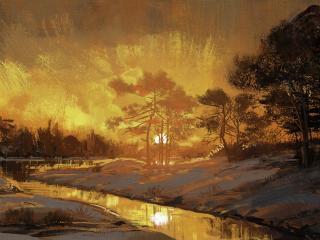 Sunset on the Lake Drawing wallpaper