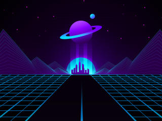 Synthwave Planet Retro Wave wallpaper