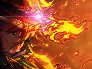 Tanjirou Kamado Demon Slayer Fire Art wallpaper