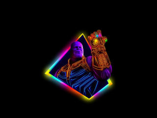 Thanos Avengers Infinity War 80s Outrun Art wallpaper