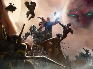 Thanos vs MCU Superheroes wallpaper