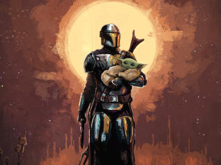The Mandalorian and Baby Yoda Art wallpaper