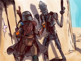 The Mandalorian and IG11 Concept Art wallpaper