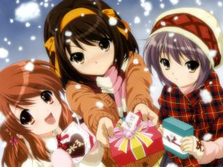 the melancholy of haruhi suzumiya, girls, presents wallpaper