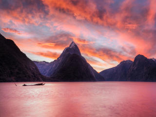 The Milky Pink Sea at Milford Sound 4K New Zealand wallpaper