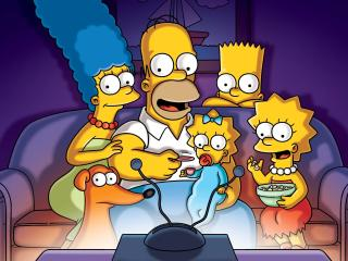 The Simpsons Family Watching TV wallpaper