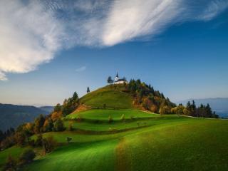 The Sv. Jakob hill in the Polhov Gradec Hill Range wallpaper