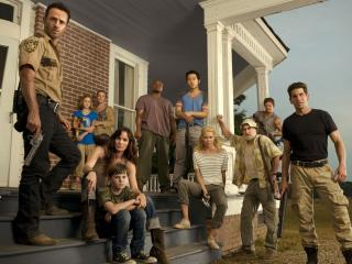the walking dead, main characters, porch wallpaper