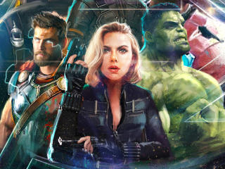 Thor Black Widow Hulk In Avengers Infinity War Artwork wallpaper