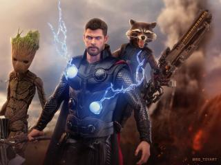 Thor, Groot And Rocket wallpaper