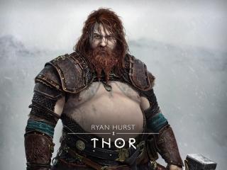Thor in God of War Ragnarok wallpaper