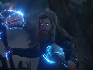 Thor with Stormbreaker and Mjolnir wallpaper