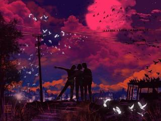 Three Friends HD Painting wallpaper