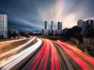 Time-lapse Madrid Highway wallpaper