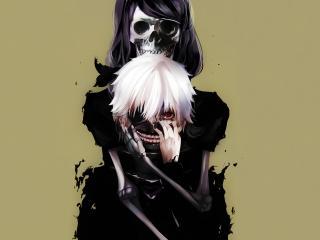tokyo ghoul, kaneki ken, skull wallpaper