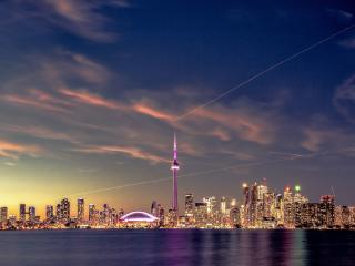 Toronto Ontario Cityscape In Sunset wallpaper