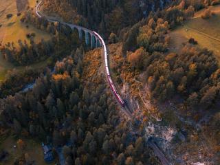 Train 4k Switzerland Aerial wallpaper