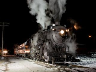 train, road, smoke wallpaper