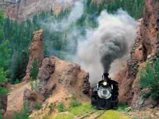 train, smoke, mountains wallpaper