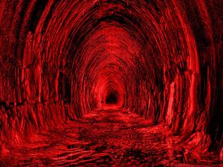 tunnel, red, black wallpaper