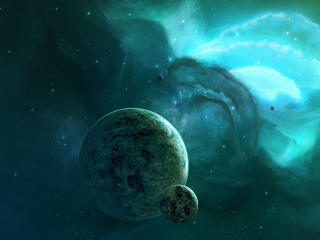 Turquoise Space Digital Art wallpaper