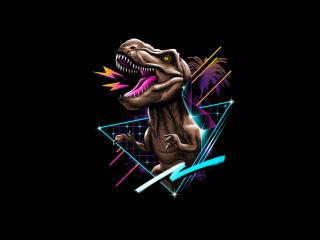 Tyrannosaurus Rex Dinosaur  Retrowave wallpaper