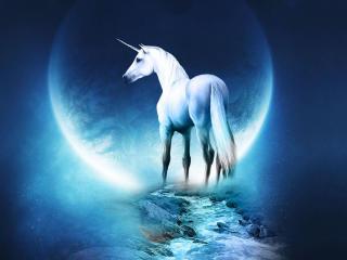 Unicorn Horse Full Moon wallpaper