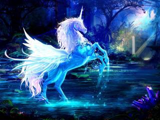unicorn, water, forest wallpaper