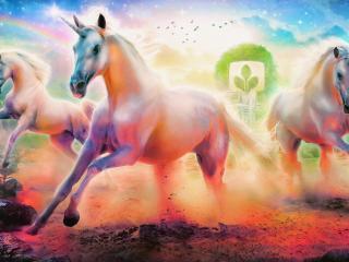 unicorns, horse, rainbow wallpaper