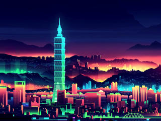 Vaporwave City Night wallpaper