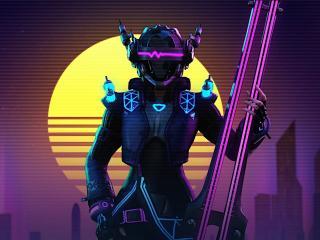 Vaporwave Futuristic Robot Cyborg Art wallpaper