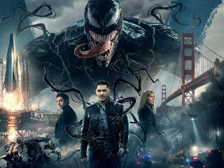 HD Wallpaper | Background Image Venom (2018) Promotional Art with Riz Ahmed, Tom Hardy and Michelle Williams
