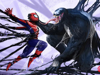 Venom Vs Spider Man Art wallpaper