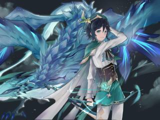 Venti Cool Genshin Impact Digital Art wallpaper