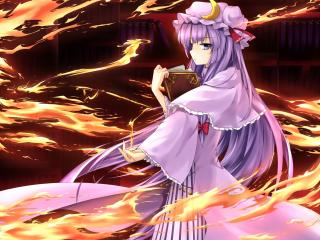 view full size patchouli knowledge, girl, books wallpaper
