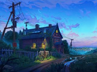 Village Scenery Digital Art wallpaper