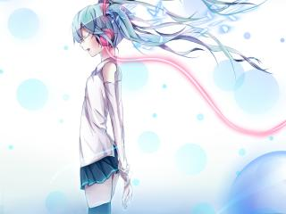 vocaloid, hatsune miku, headphones wallpaper
