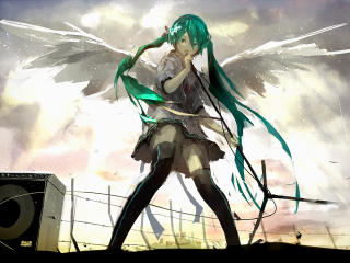 vocaloid, hatsune miku, wings wallpaper