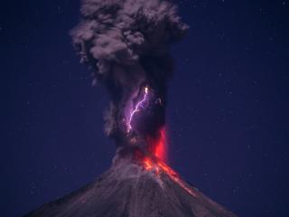 volcano, eruption, lightning wallpaper