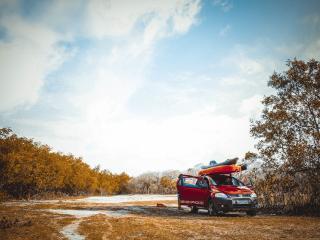 volkswagen suv, field, trees wallpaper
