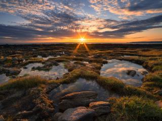 Warm Cloudy Evening Sunrise wallpaper