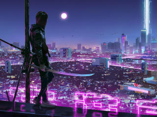 Warrior Girl in Cyberpunk City wallpaper