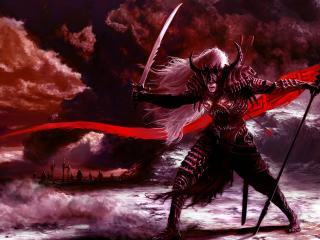 warrior, weapon, posture wallpaper