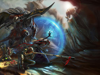 warriors, cave, armor wallpaper