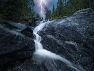 Waterfall and Lightning wallpaper