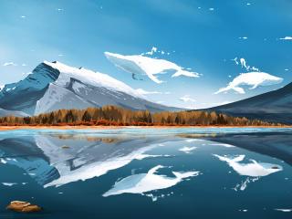 Whale Clouds Digital Art wallpaper