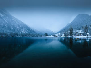 White Snowy Lake wallpaper