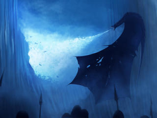 White Walker Ice Dragon Breaking The Wall wallpaper