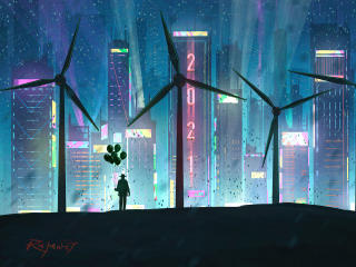 Wind Turbine in Futuristic City wallpaper