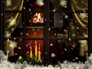 HD Wallpaper | Background Image window, fireplace, candles
